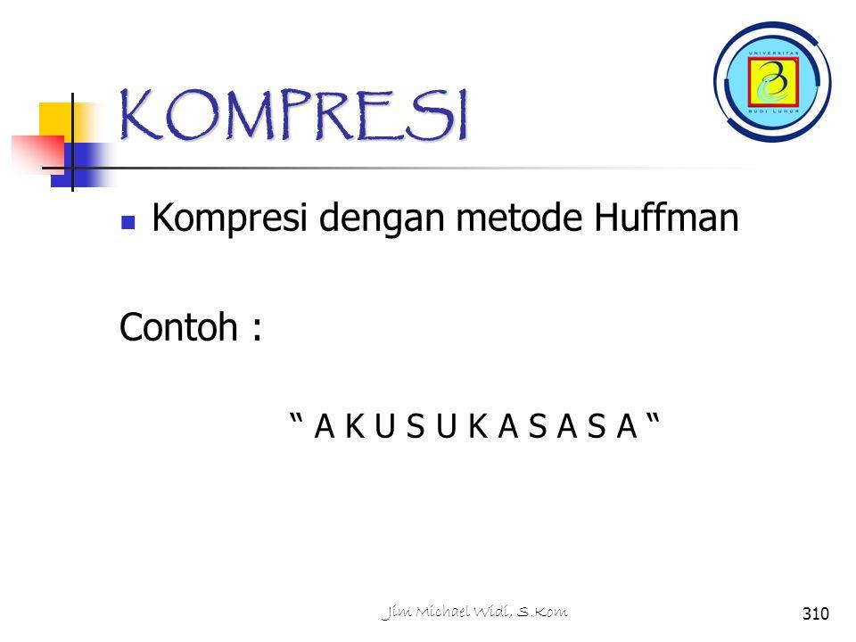 KOMPRESI Kompresi dengan metode Huffman Contoh : A K U S U K A S A S A 310Jim Michael Widi, S.Kom