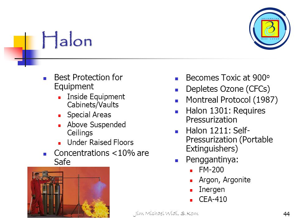 Jim Michael Widi, S.Kom Halon Best Protection for Equipment Inside Equipment Cabinets/Vaults Special Areas Above Suspended Ceilings Under Raised Floor