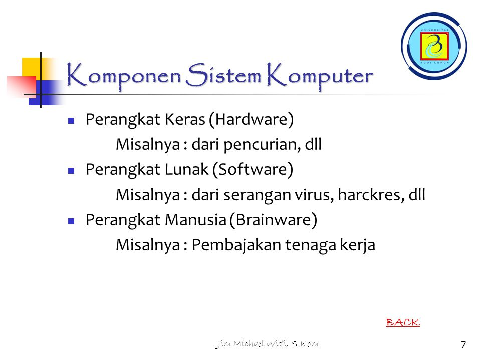 Firewalls Basic problem – many network applications and protocols have security problems that are fixed over time Sulit untuk implementasi pd tingkat users dan sejumlah host yg banyak (control & managed) Solution Administrators limit access to end hosts by using a firewall Firewall is kept up-to-date by administrators Firewall Router diprogram khusus yg membatasi site dan eksternal network Router => connect & forward paket Filter => membatasi paket yang dapat di forward (drop) 218Jim Michael Widi, S.Kom