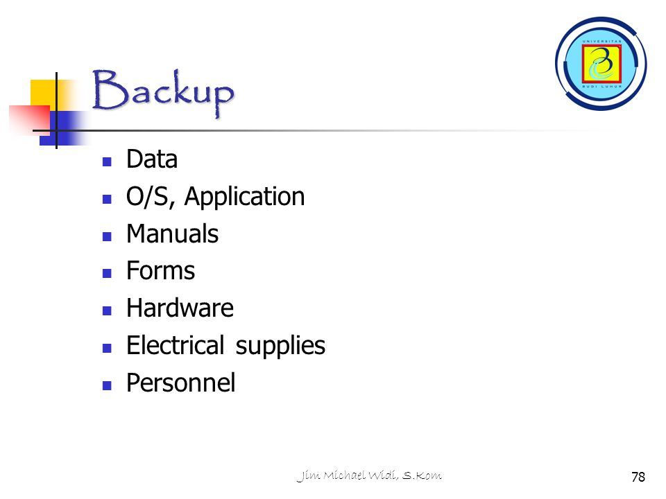 Jim Michael Widi, S.Kom78 Backup Data O/S, Application Manuals Forms Hardware Electrical supplies Personnel