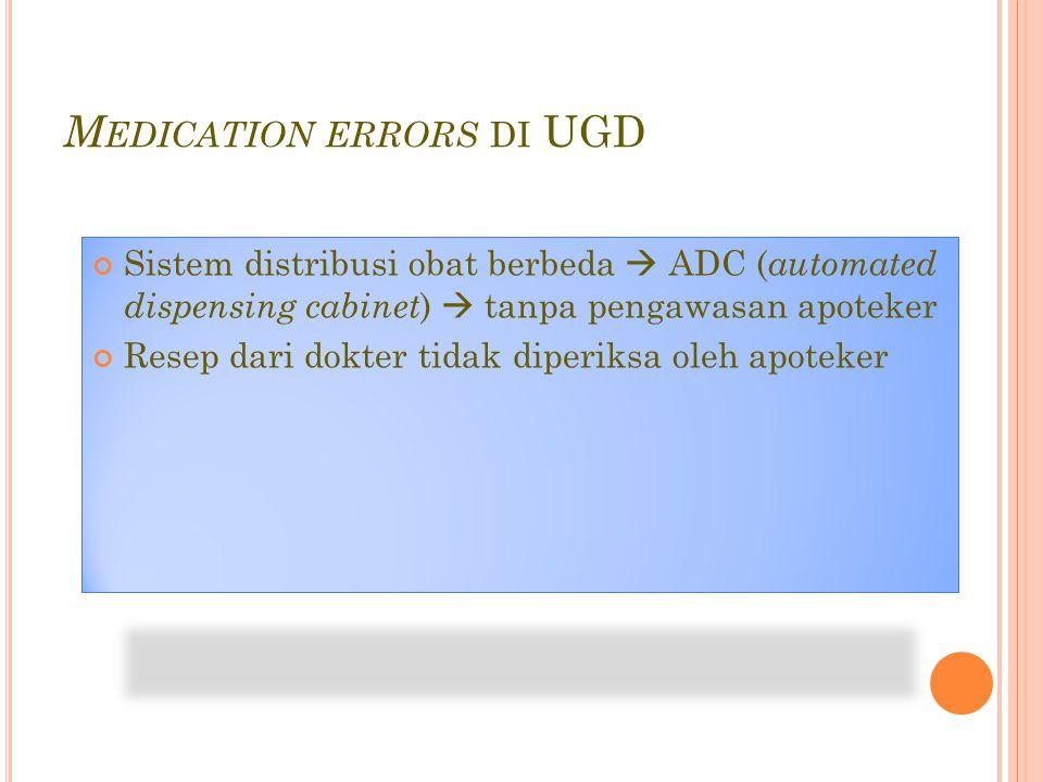 M EDICATION ERRORS DI UGD Sistem distribusi obat berbeda  ADC ( automated dispensing cabinet )  tanpa pengawasan apoteker Resep dari dokter tidak diperiksa oleh apoteker