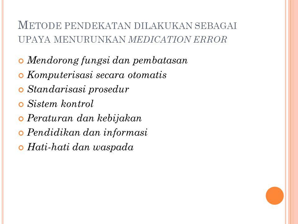 S TRATEGI MENGURANGI RISIKO MEDICATION ERROR DI UGD 2.