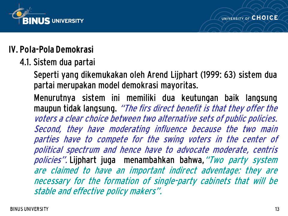 BINUS UNIVERSITY13 IV. Pola-Pola Demokrasi 4.1.
