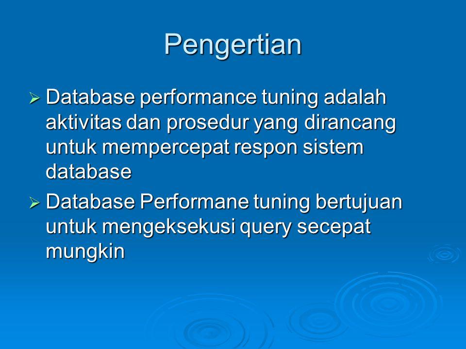 Reorganization  Memaksimalkan availabilitty dan reliability data  Me-reorganisasi database berarti merestrukturisasi objek database, memaksimalkan availability dan kecepatan, serta mengefisiensi fungsi database