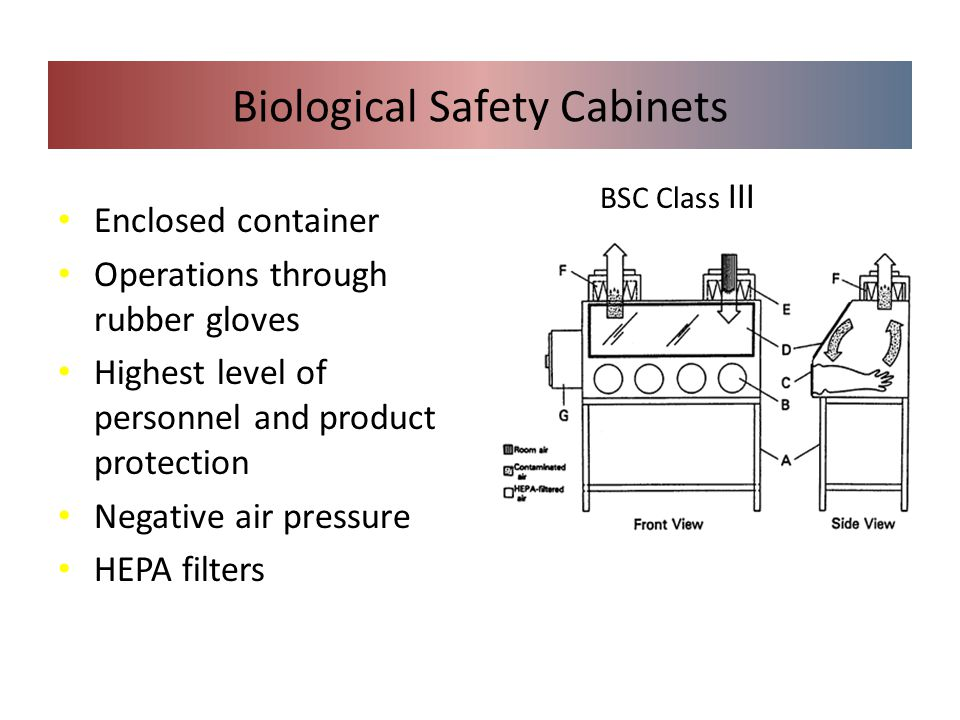 Biological Safety Cabinets Enclosed container Operations through rubber gloves Highest level of personnel and product protection Negative air pressure