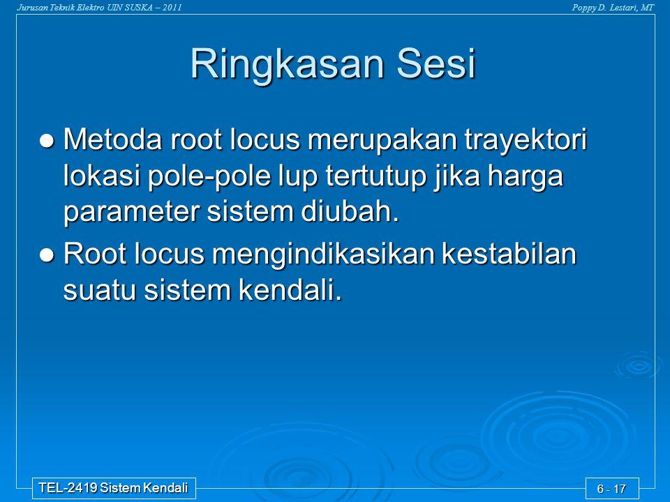 Jurusan Teknik Elektro UIN SUSKA – 2011Poppy D. Lestari, MT TEL-2419 Sistem Kendali 6 - 17 Ringkasan Sesi Metoda root locus merupakan trayektori lokas