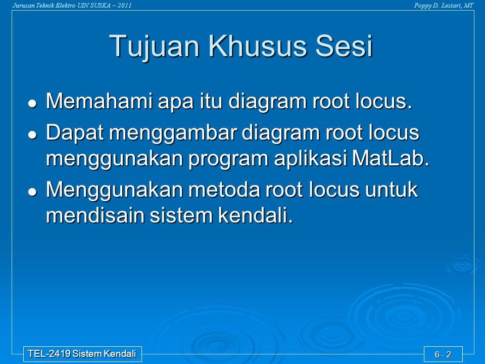 Jurusan Teknik Elektro UIN SUSKA – 2011Poppy D. Lestari, MT TEL-2419 Sistem Kendali 6 - 2 Memahami apa itu diagram root locus. Memahami apa itu diagra