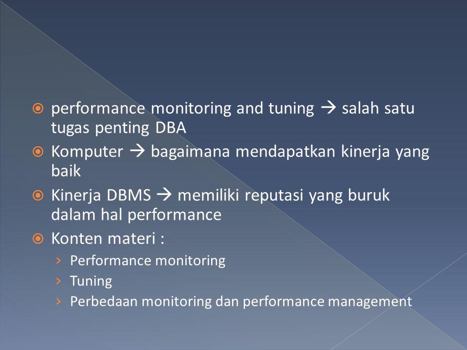  Organisasi pengguna IT  monitor dan tune performa IT infrastruktur  Infrastruktur IT meliputi › Server › Jaringan › Aplikasi › Database  Performance management yang digunakan masih reaktif  Contoh : tablespace yang sudah penuh