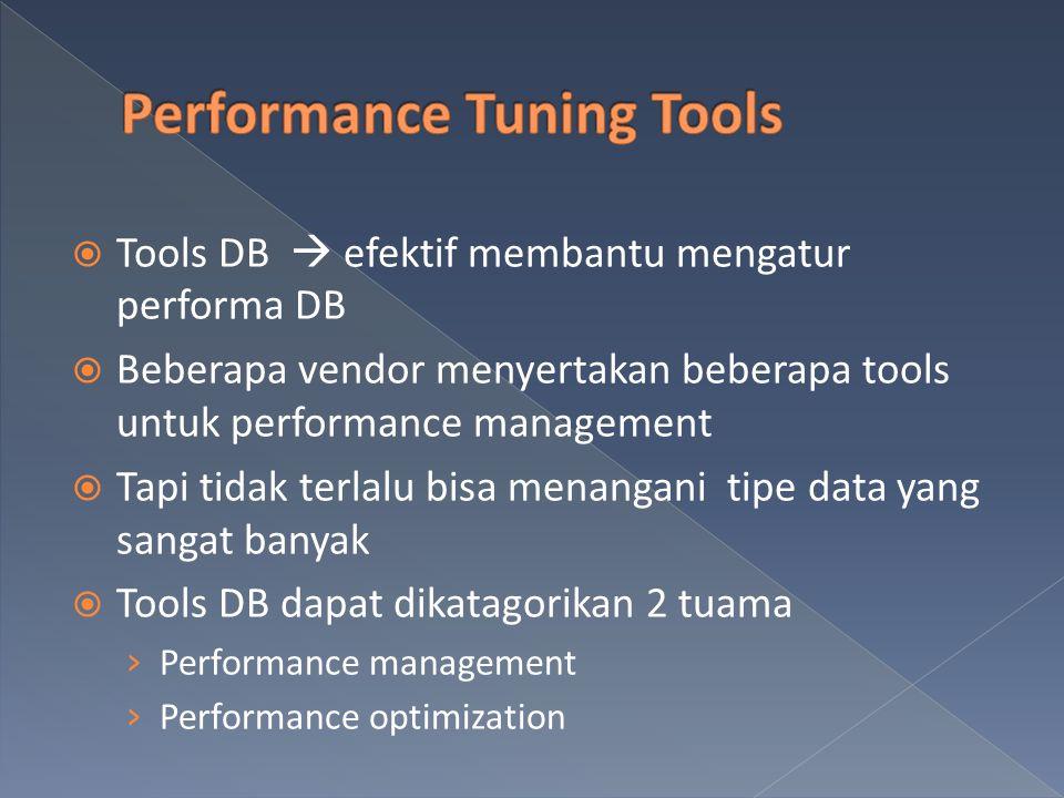 Tools DB  efektif membantu mengatur performa DB  Beberapa vendor menyertakan beberapa tools untuk performance management  Tapi tidak terlalu bisa menangani tipe data yang sangat banyak  Tools DB dapat dikatagorikan 2 tuama › Performance management › Performance optimization