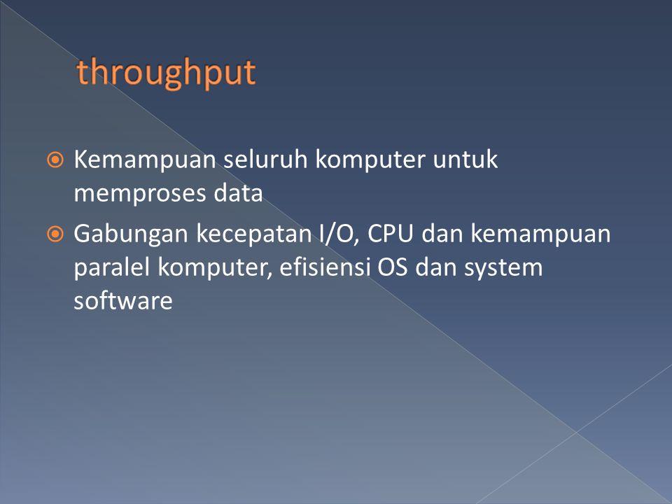  Kemampuan seluruh komputer untuk memproses data  Gabungan kecepatan I/O, CPU dan kemampuan paralel komputer, efisiensi OS dan system software