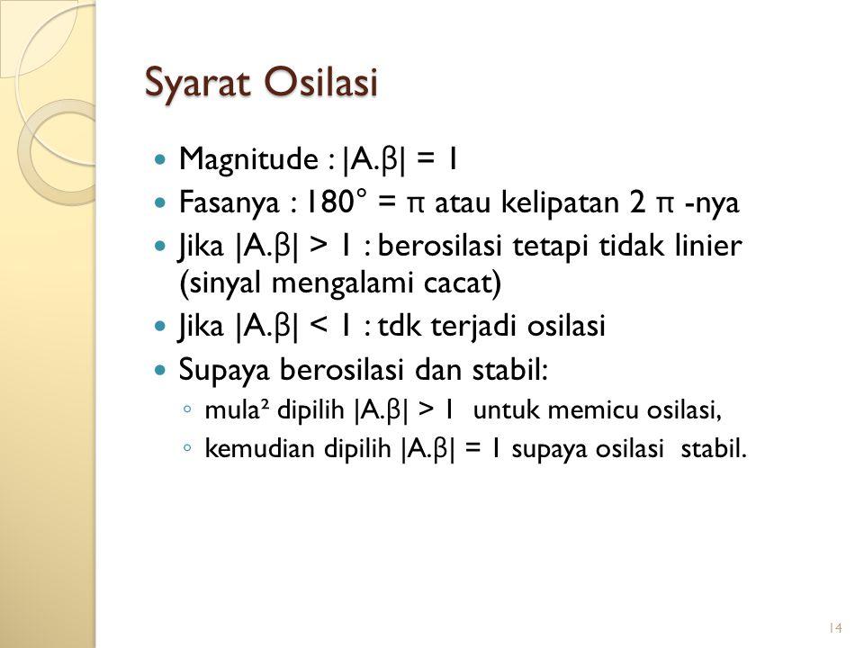 14 Syarat Osilasi Magnitude : |A. β | = 1 Fasanya : 180° = π atau kelipatan 2 π -nya Jika |A. β | > 1 : berosilasi tetapi tidak linier (sinyal mengala