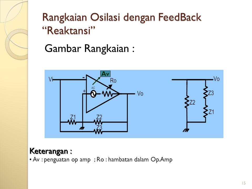 15 Rangkaian Osilasi dengan FeedBack Reaktansi Gambar Rangkaian : Av Keterangan : Av : penguatan op amp ; Ro : hambatan dalam Op.Amp