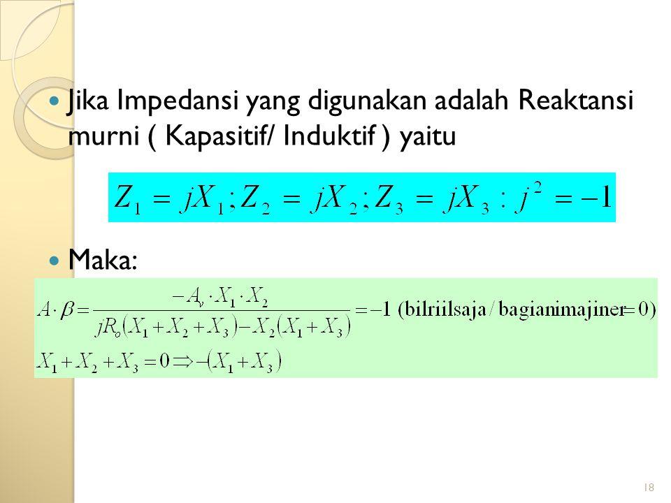 18 Jika Impedansi yang digunakan adalah Reaktansi murni ( Kapasitif/ Induktif ) yaitu Maka: