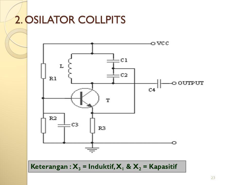 23 2. OSILATOR COLLPITS Keterangan : X 3 = Induktif, X 1 & X 2 = Kapasitif