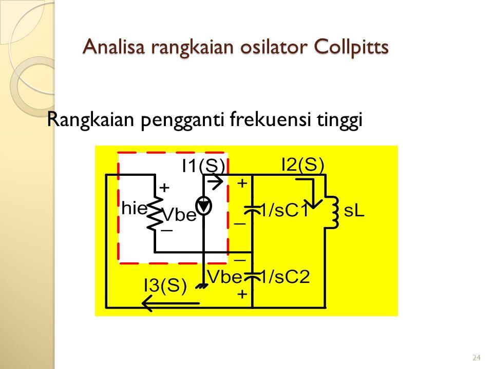 24 Analisa rangkaian osilator Collpitts Rangkaian pengganti frekuensi tinggi