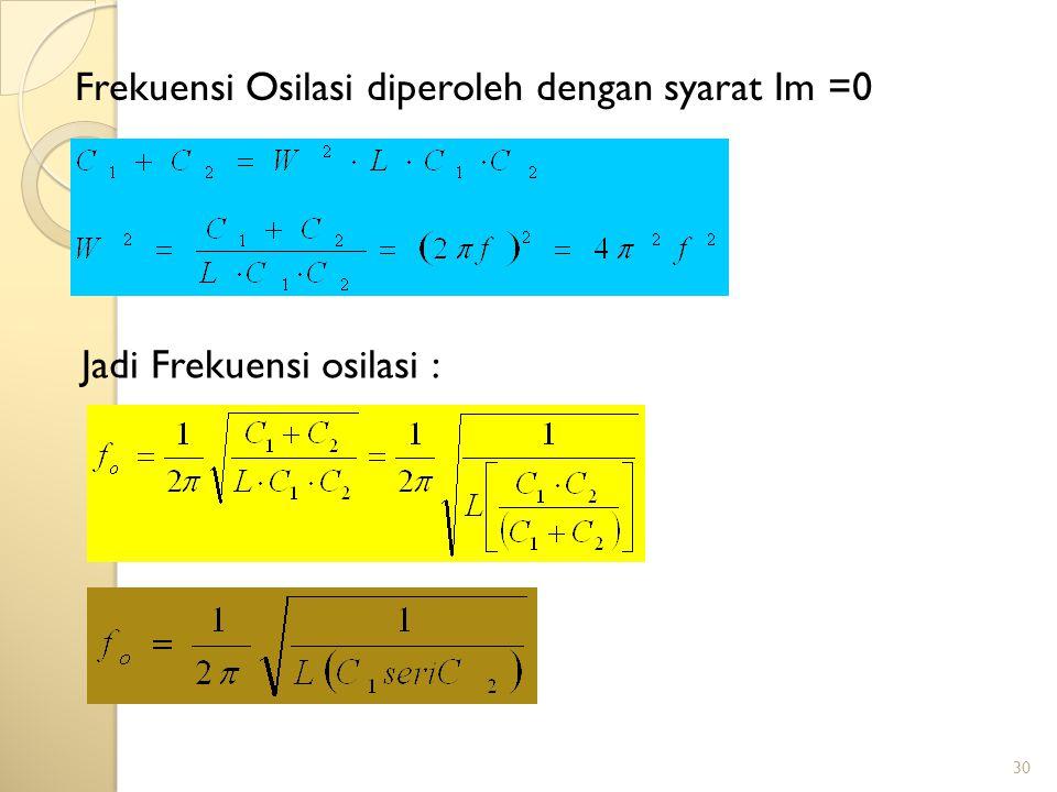 30 Frekuensi Osilasi diperoleh dengan syarat Im =0 Jadi Frekuensi osilasi :
