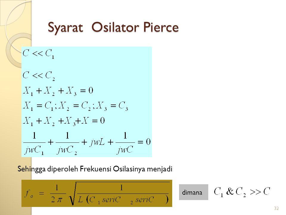 32 Syarat Osilator Pierce Sehingga diperoleh Frekuensi Osilasinya menjadi dimana