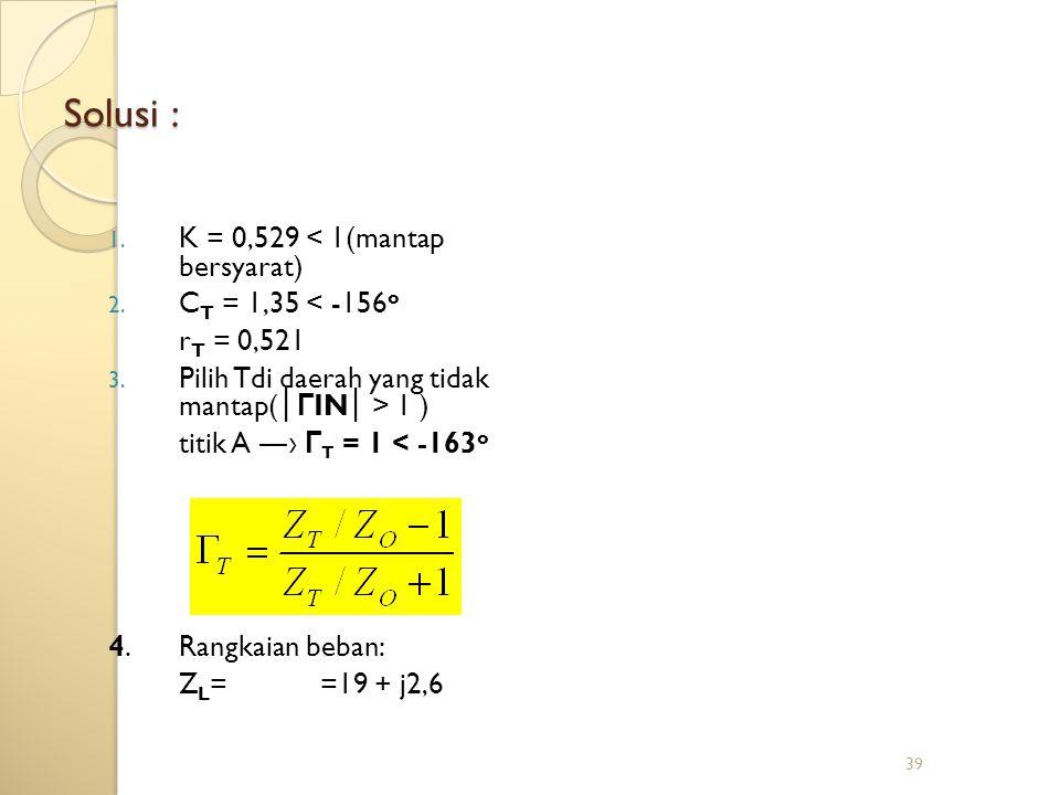 39 Solusi : 1. K = 0,529 < 1(mantap bersyarat) 2. C T = 1,35 < -156 o r T = 0,521 3. Pilih Tdi daerah yang tidak mantap( │ Г IN │ > 1 ) titik A ― › Г