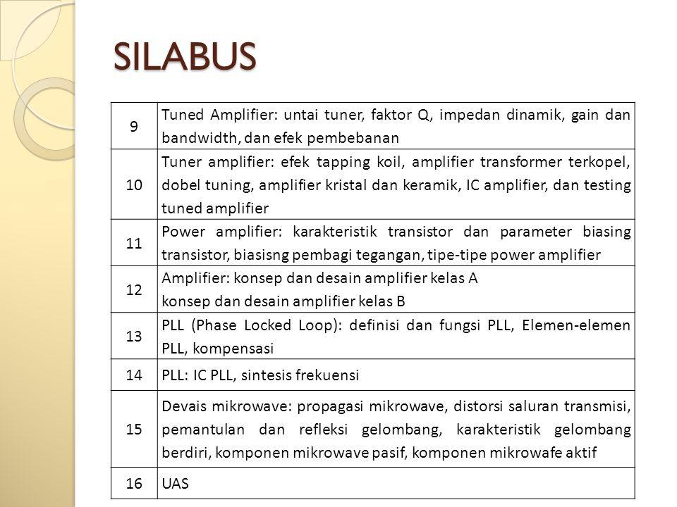 SILABUS 9 Tuned Amplifier: untai tuner, faktor Q, impedan dinamik, gain dan bandwidth, dan efek pembebanan 10 Tuner amplifier: efek tapping koil, amplifier transformer terkopel, dobel tuning, amplifier kristal dan keramik, IC amplifier, dan testing tuned amplifier 11 Power amplifier: karakteristik transistor dan parameter biasing transistor, biasisng pembagi tegangan, tipe-tipe power amplifier 12 Amplifier: konsep dan desain amplifier kelas A konsep dan desain amplifier kelas B 13 PLL (Phase Locked Loop): definisi dan fungsi PLL, Elemen-elemen PLL, kompensasi 14PLL: IC PLL, sintesis frekuensi 15 Devais mikrowave: propagasi mikrowave, distorsi saluran transmisi, pemantulan dan refleksi gelombang, karakteristik gelombang berdiri, komponen mikrowave pasif, komponen mikrowafe aktif 16UAS