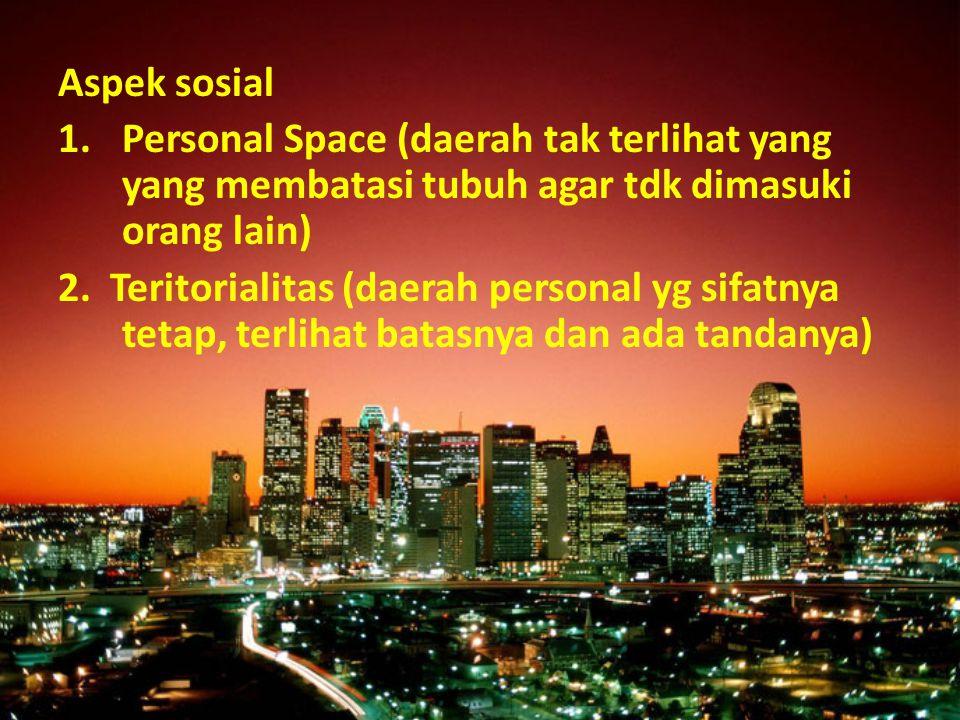 Aspek sosial 1.Personal Space (daerah tak terlihat yang yang membatasi tubuh agar tdk dimasuki orang lain) 2. Teritorialitas (daerah personal yg sifat