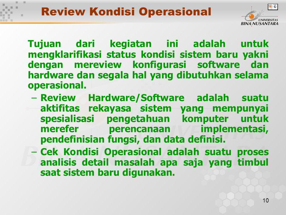 10 Review Kondisi Operasional Tujuan dari kegiatan ini adalah untuk mengklarifikasi status kondisi sistem baru yakni dengan mereview konfigurasi software dan hardware dan segala hal yang dibutuhkan selama operasional.