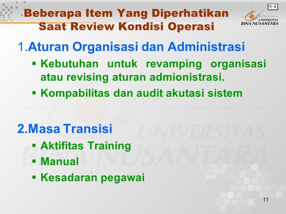 11 Beberapa Item Yang Diperhatikan Saat Review Kondisi Operasi 1.Aturan Organisasi dan Administrasi  Kebutuhan untuk revamping organisasi atau revising aturan admionistrasi.