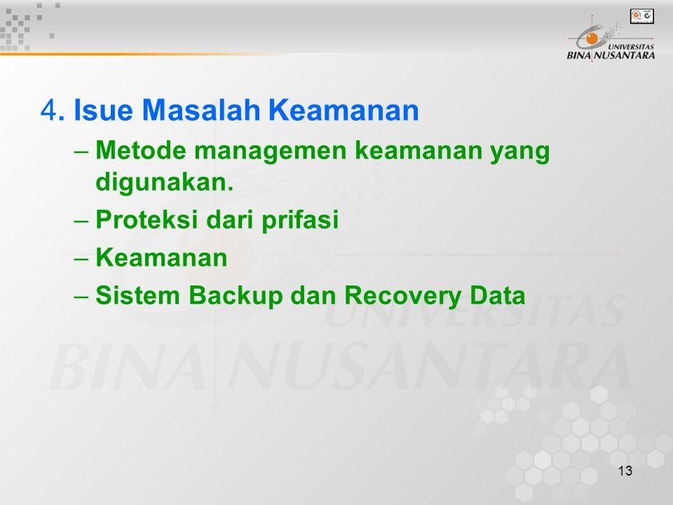 13 4. Isue Masalah Keamanan –Metode managemen keamanan yang digunakan. –Proteksi dari prifasi –Keamanan –Sistem Backup dan Recovery Data