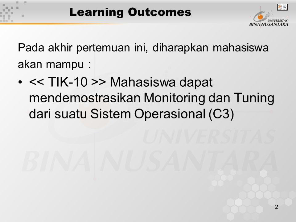 2 Learning Outcomes Pada akhir pertemuan ini, diharapkan mahasiswa akan mampu : > Mahasiswa dapat mendemostrasikan Monitoring dan Tuning dari suatu Sistem Operasional (C3)
