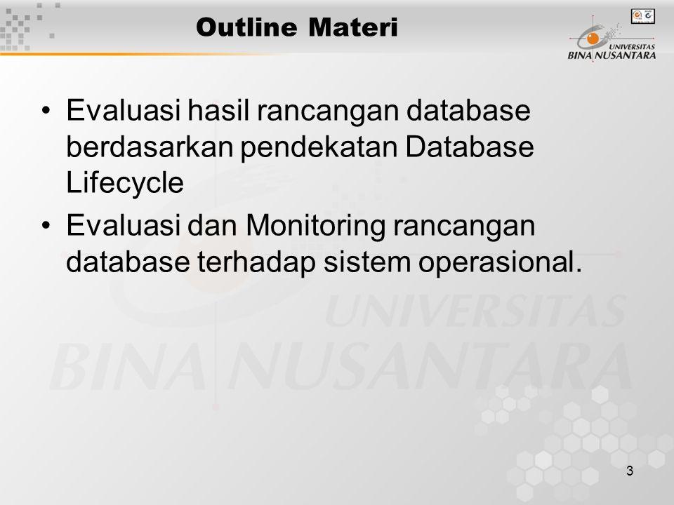 3 Outline Materi Evaluasi hasil rancangan database berdasarkan pendekatan Database Lifecycle Evaluasi dan Monitoring rancangan database terhadap sistem operasional.