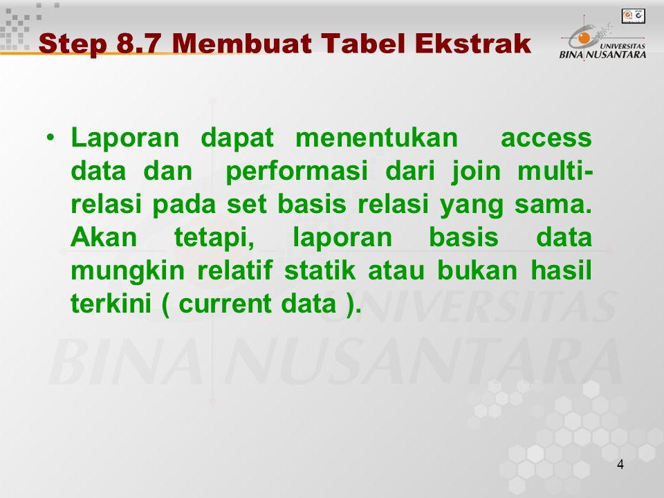 4 Step 8.7 Membuat Tabel Ekstrak Laporan dapat menentukan access data dan performasi dari join multi- relasi pada set basis relasi yang sama.