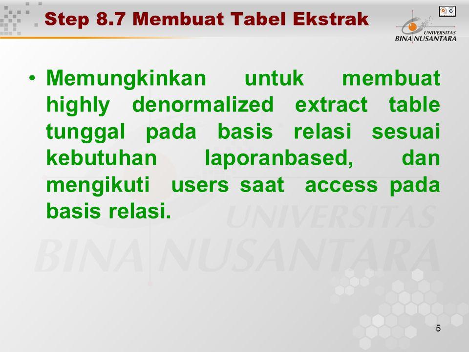 5 Step 8.7 Membuat Tabel Ekstrak Memungkinkan untuk membuat highly denormalized extract table tunggal pada basis relasi sesuai kebutuhan laporanbased, dan mengikuti users saat access pada basis relasi.