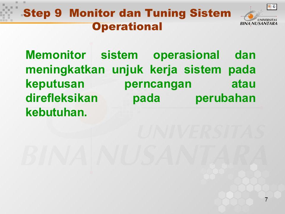 7 Step 9 Monitor dan Tuning Sistem Operational Memonitor sistem operasional dan meningkatkan unjuk kerja sistem pada keputusan perncangan atau direfleksikan pada perubahan kebutuhan.