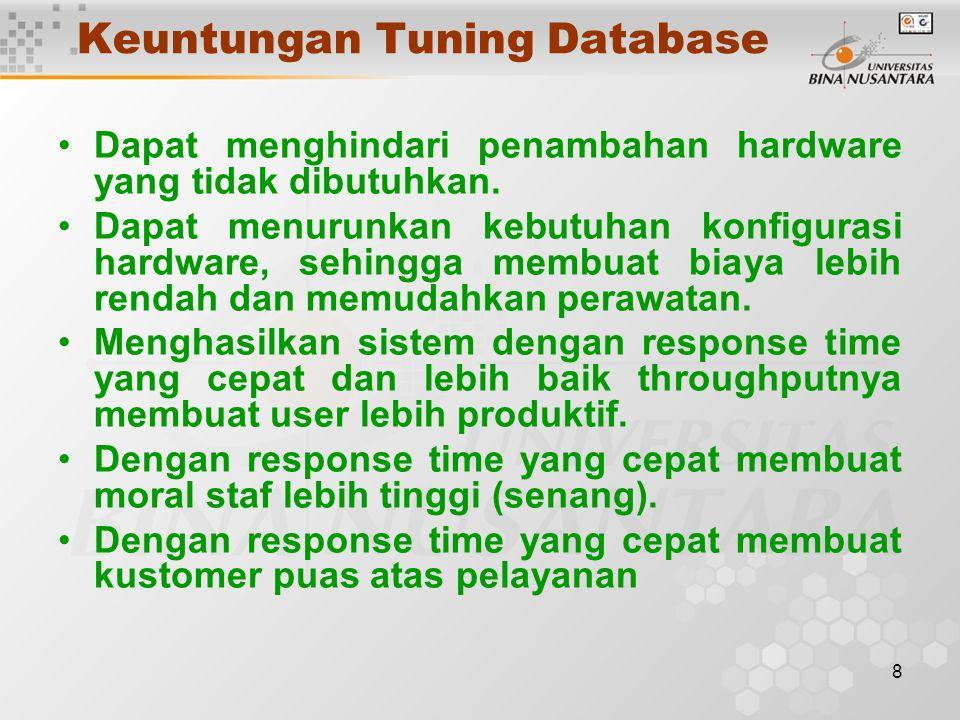 8 Keuntungan Tuning Database Dapat menghindari penambahan hardware yang tidak dibutuhkan. Dapat menurunkan kebutuhan konfigurasi hardware, sehingga me