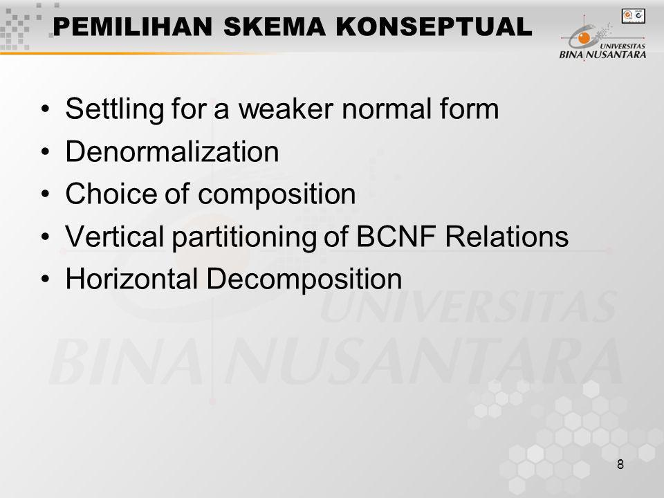 8 PEMILIHAN SKEMA KONSEPTUAL Settling for a weaker normal form Denormalization Choice of composition Vertical partitioning of BCNF Relations Horizonta