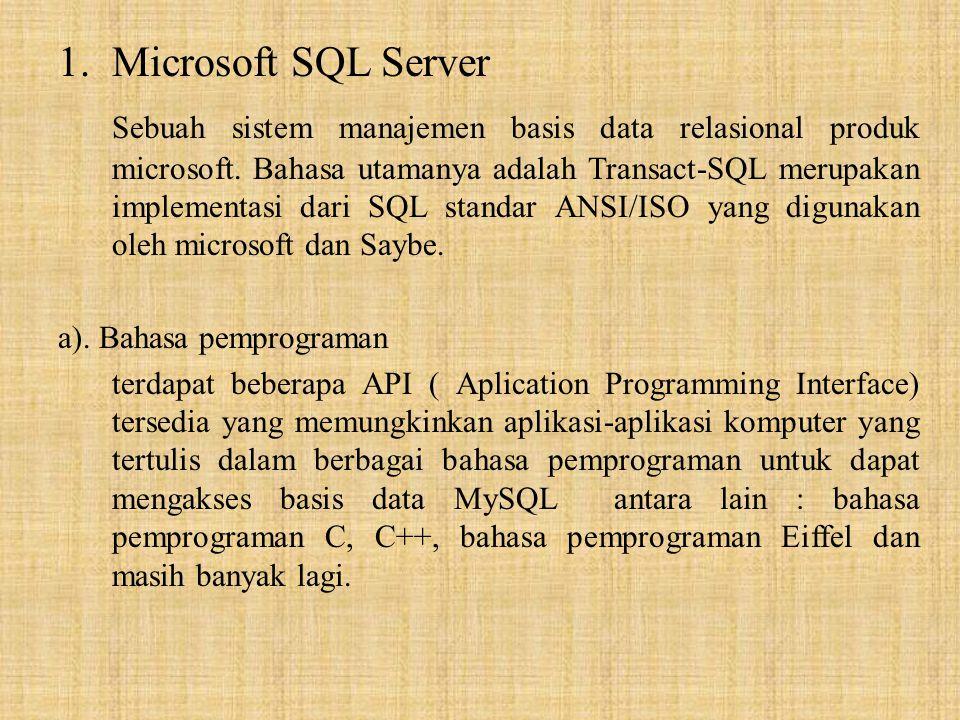 1.Microsoft SQL Server Sebuah sistem manajemen basis data relasional produk microsoft. Bahasa utamanya adalah Transact-SQL merupakan implementasi dari