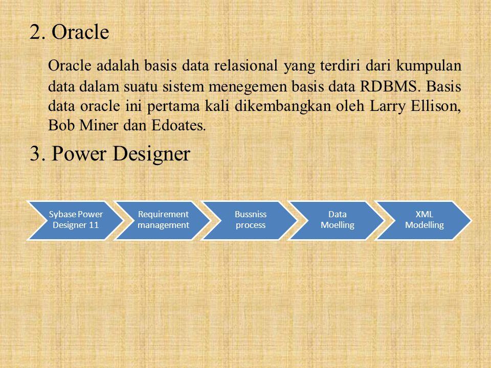 2. Oracle Oracle adalah basis data relasional yang terdiri dari kumpulan data dalam suatu sistem menegemen basis data RDBMS. Basis data oracle ini per
