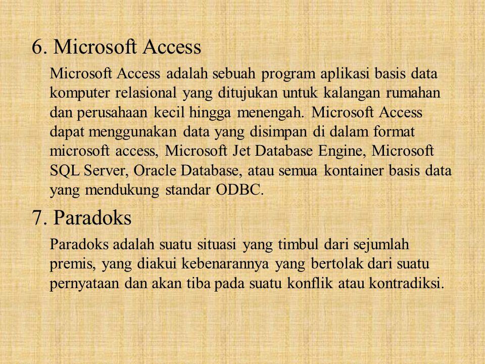 6. Microsoft Access Microsoft Access adalah sebuah program aplikasi basis data komputer relasional yang ditujukan untuk kalangan rumahan dan perusahaa