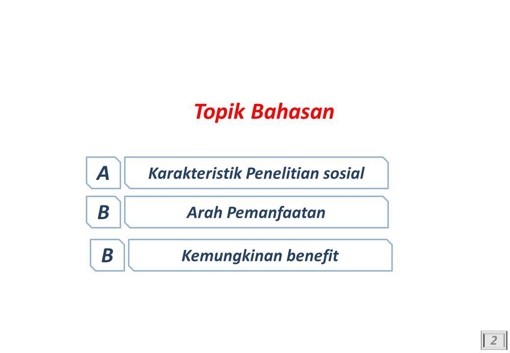 Topik Bahasan 2 Karakteristik Penelitian sosial A Arah Pemanfaatan B Kemungkinan benefit B