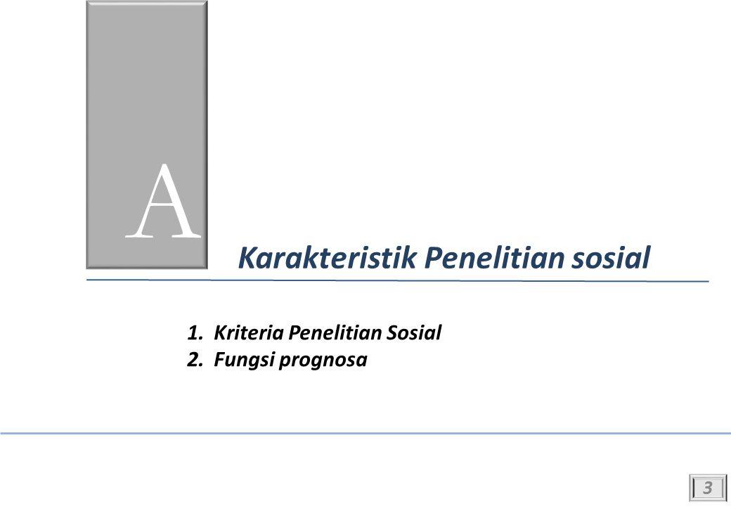 A Karakteristik Penelitian sosial 1.Kriteria Penelitian Sosial 2.Fungsi prognosa 3