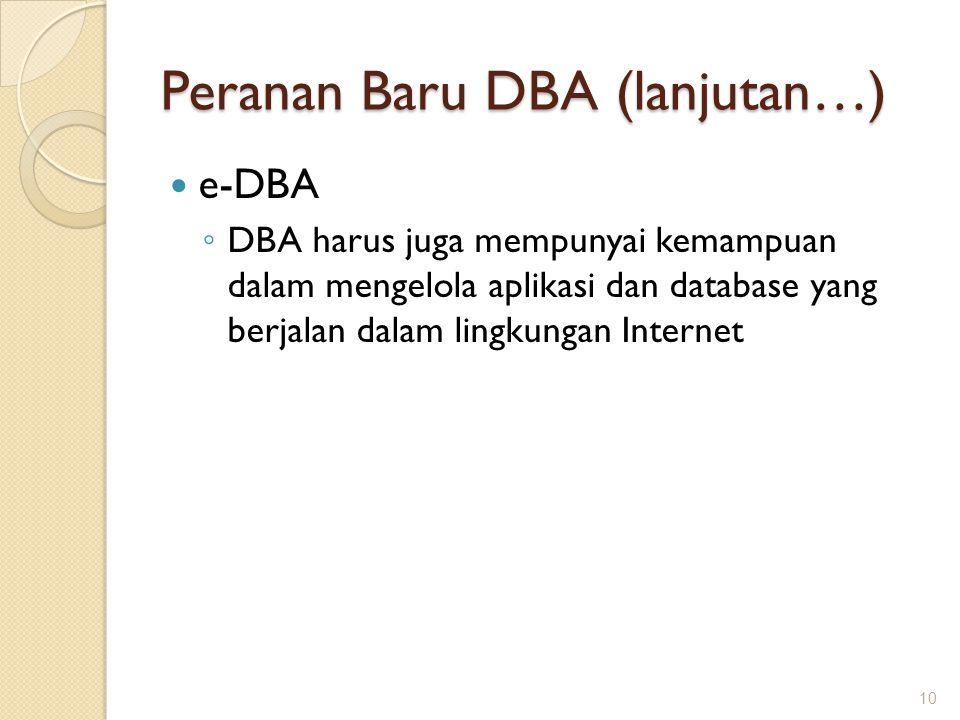Peranan Baru DBA (lanjutan…) e-DBA ◦ DBA harus juga mempunyai kemampuan dalam mengelola aplikasi dan database yang berjalan dalam lingkungan Internet