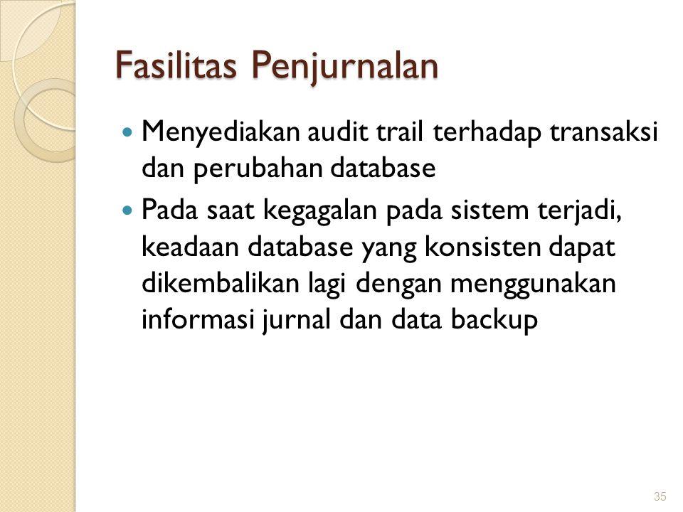 Fasilitas Penjurnalan Menyediakan audit trail terhadap transaksi dan perubahan database Pada saat kegagalan pada sistem terjadi, keadaan database yang