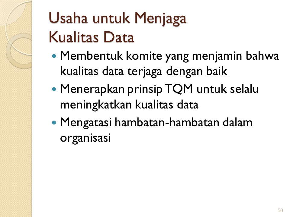 Usaha untuk Menjaga Kualitas Data Membentuk komite yang menjamin bahwa kualitas data terjaga dengan baik Menerapkan prinsip TQM untuk selalu meningkat
