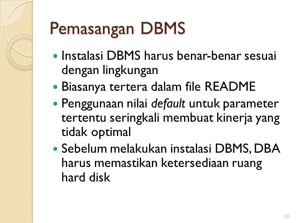Pemasangan DBMS Instalasi DBMS harus benar-benar sesuai dengan lingkungan Biasanya tertera dalam file README Penggunaan nilai default untuk parameter