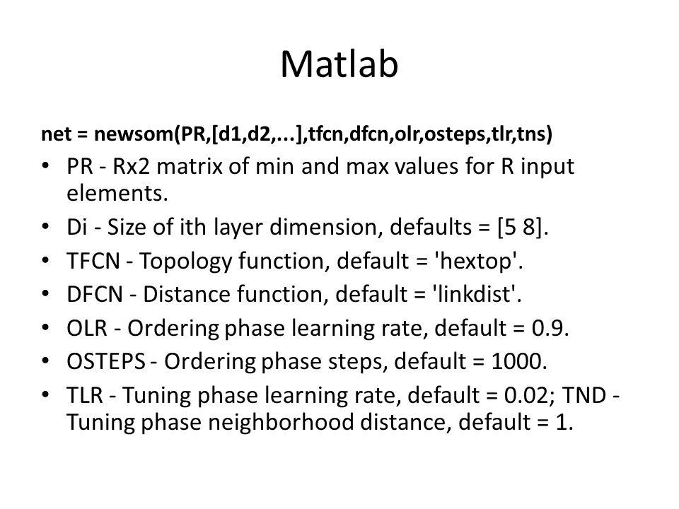 Akan digunakan pelatihan SOM dengan data gempa (datagempa.xls) Dalam matlab gunakan fungsi som (newsom(parameter,)) Lihat source code som.m