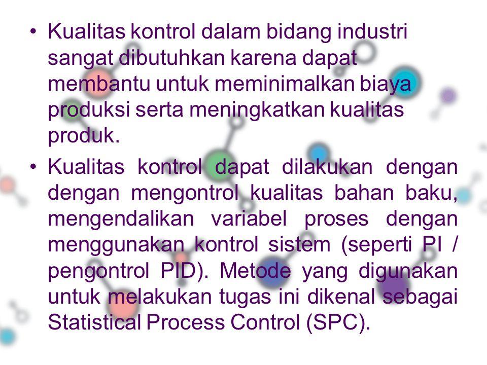 Kualitas kontrol dalam bidang industri sangat dibutuhkan karena dapat membantu untuk meminimalkan biaya produksi serta meningkatkan kualitas produk. K
