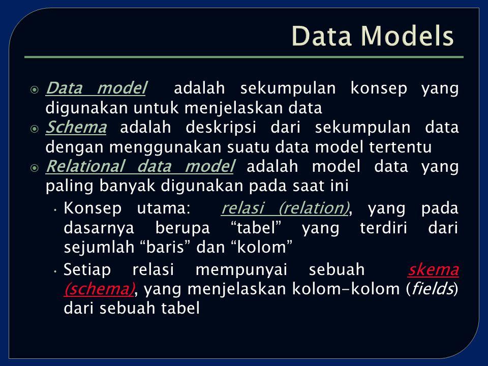  Data model adalah sekumpulan konsep yang digunakan untuk menjelaskan data  Schema adalah deskripsi dari sekumpulan data dengan menggunakan suatu data model tertentu  Relational data model adalah model data yang paling banyak digunakan pada saat ini Konsep utama: relasi (relation), yang pada dasarnya berupa tabel yang terdiri dari sejumlah baris dan kolom Setiap relasi mempunyai sebuah skema (schema), yang menjelaskan kolom-kolom (fields) dari sebuah tabel