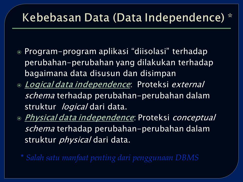  Program-program aplikasi diisolasi terhadap perubahan-perubahan yang dilakukan terhadap bagaimana data disusun dan disimpan  Logical data independence: Proteksi external schema terhadap perubahan-perubahan dalam struktur logical dari data.