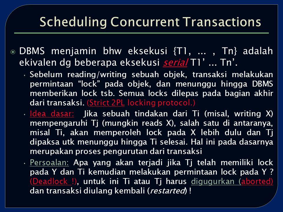  DBMS menjamin bhw eksekusi {T1,..., Tn} adalah ekivalen dg beberapa eksekusi serial T1'...