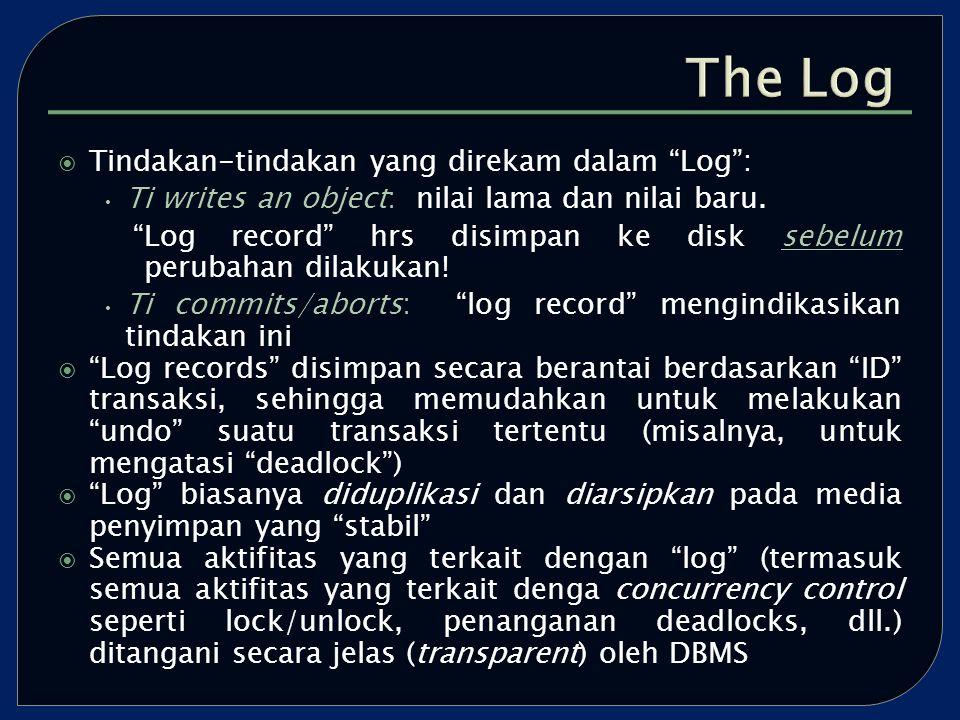  Tindakan-tindakan yang direkam dalam Log : Ti writes an object: nilai lama dan nilai baru.