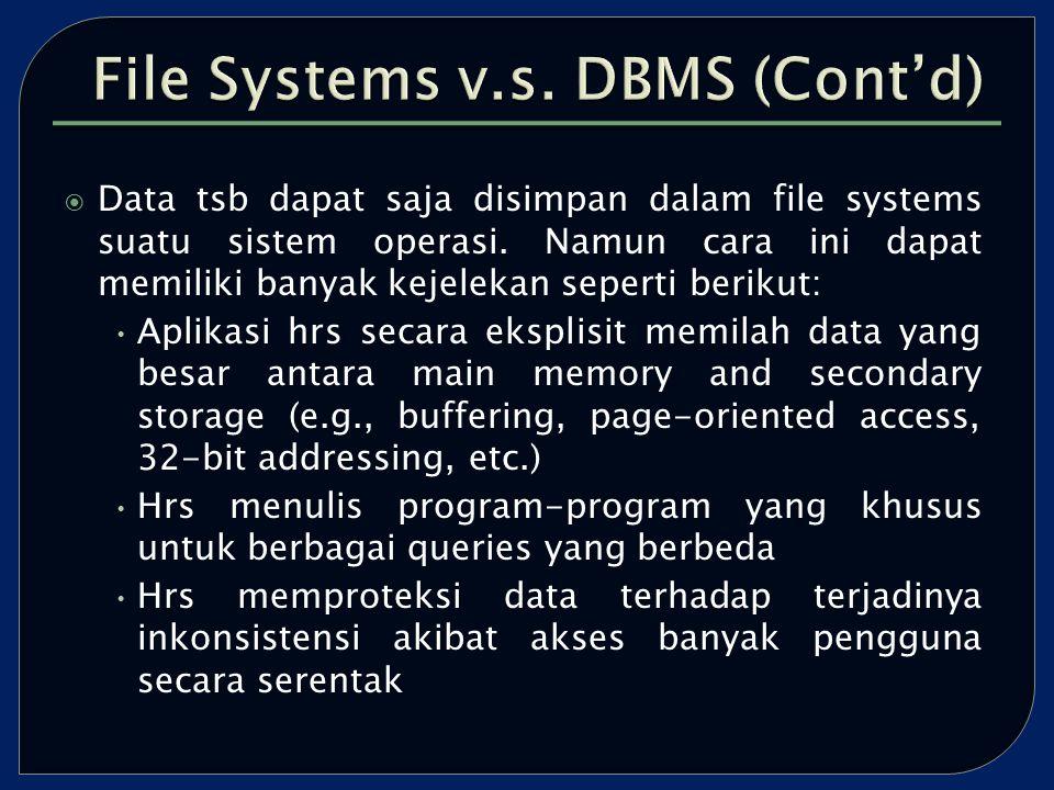  Data tsb dapat saja disimpan dalam file systems suatu sistem operasi.